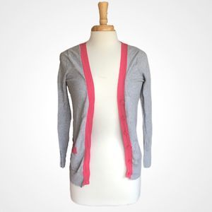 Forever 21 Cardigan with Coral Trim/buttons Grey S